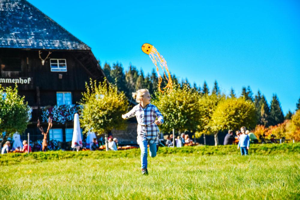 Kindern beim Drachen steigen lassen - Aktivurlaub im Schwarzwald