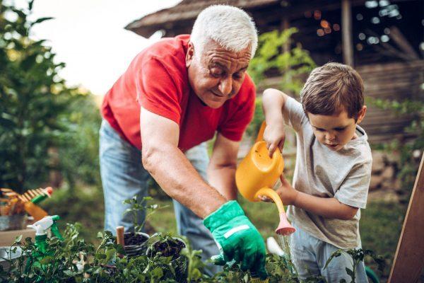 Opa und Enkel arbeiten im Garten - Was kann man zuhause machen?