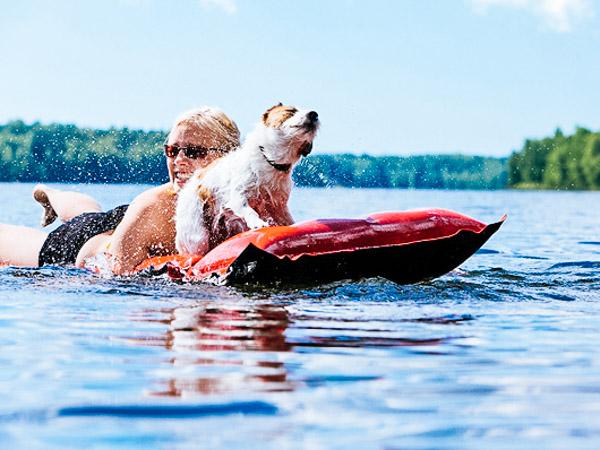 Hund und Frauchen paddeln auf der Luftmatratze - Hundeurlaub am See