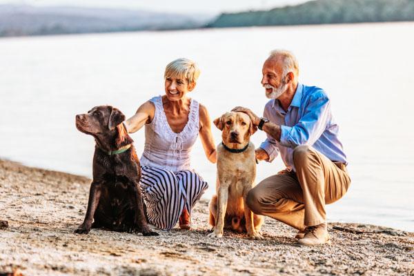 Älteres Paar mit zwei Hunden im Chiemgau