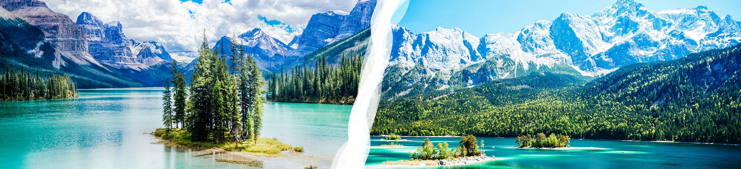 Zweigeteiltes Bilder mit weißem Trenner, links Maligne Lake in Kanada, rechts Eibsee in Bayern