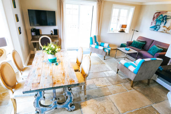 Wohnzimmer des Ferienhauses Sylt Relais Blue