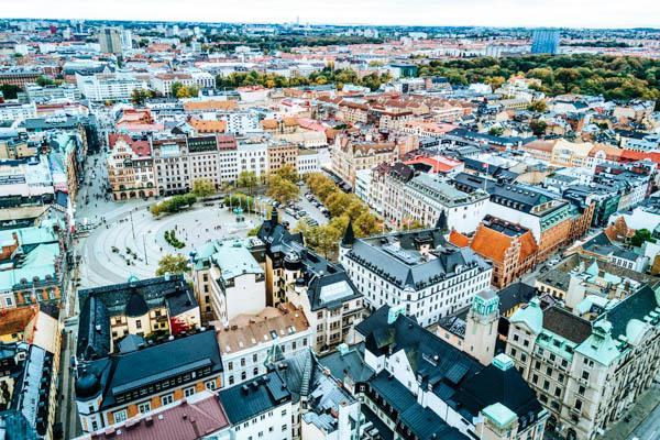 Luftbild von der Innenstadt in Malmö – Familienurlaub in Schweden