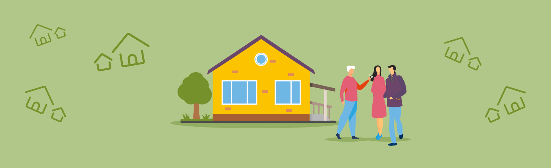 Grüner Hintergrund, darauf Icons von einem Haus sowie drei Personen, die miteinander sprechen