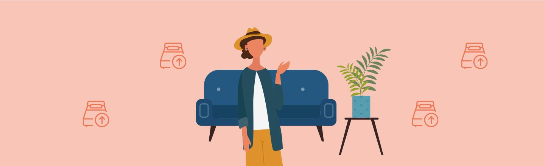 Roter Hintergrund, im Vordergrund sieht man Icons: Blaues Sofa, Pflanze und eine Frau