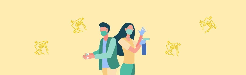 Gelber Hintergrund mit Icons, die eine Hand zeigen, die einen Putzlappen hält. Im Vordergrund sind Icons eines Mannes und einer Frau, die Putzmittel halten, zu sehen. – Hygienekonzept für Ferienwohnungen