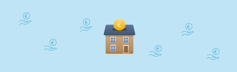 Icon eines Hauses, in das von oben ein Euro-Stück hineinfällt. Blauer Hintergrund mit Geldicons – Ferienwohnung als Kapitalanlage